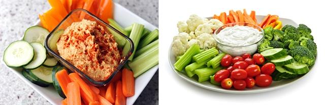 Humus ve çiğ sebzeler